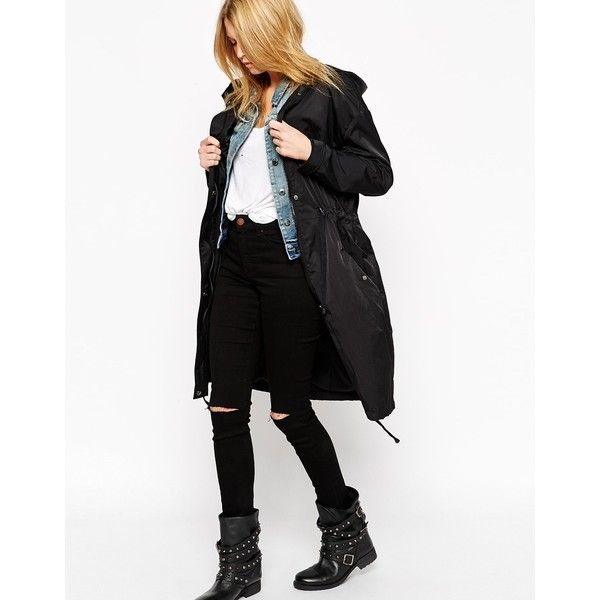 ASOS Rain Parka in Midi Length ($72) ❤ liked on Polyvore featuring outerwear, coats, black, asos parka, calf length coat, asos coats, parka coat and cotton parka