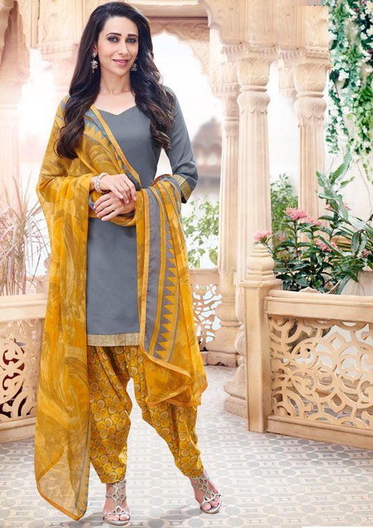 Karisma Kapoor Gray Cotton Punjabi Suit 59880