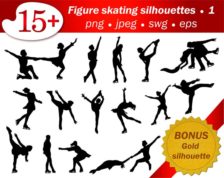 Figure skating people silhouette. Part 1. Bonus gold silhouette. Eps, png, jpeg, svg. Editable, scrapbooking, clip art, sport, cutting by GecleeArtStudio on Etsy