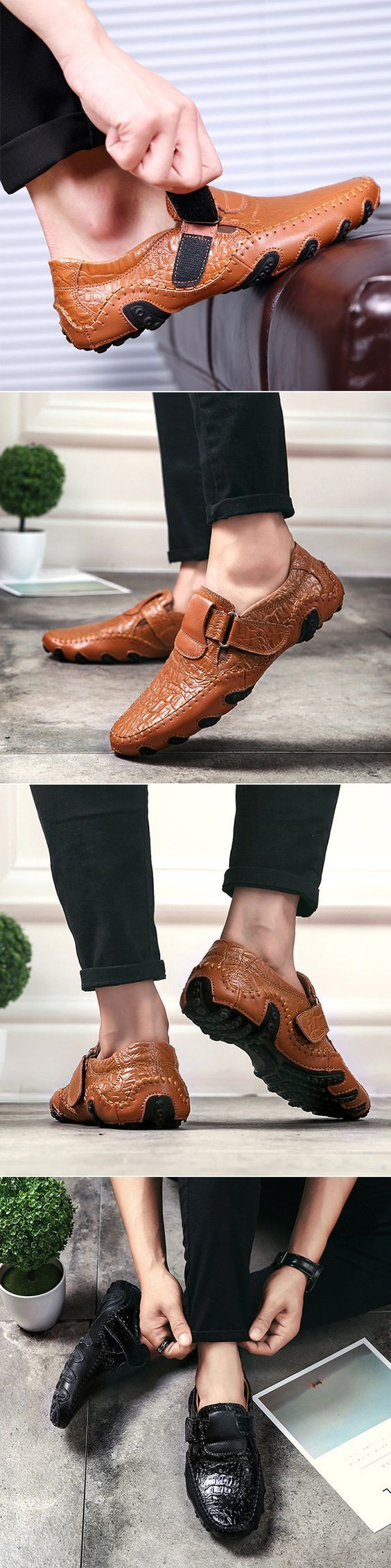 Big Size Handmade Genuine Leather Loafers Stitching Soft Sole Casual Driving Shoes