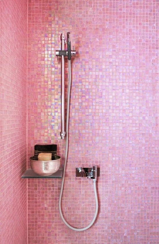 Pearlescent pink glass mosaic tile in the shower- I would totally have this on one wall in the shower maybe not the whole thing...ok so maybe the whole thing! #fashion #girly +++For guide + advice on #lifestyle, visit http://www.thatdiary.com/
