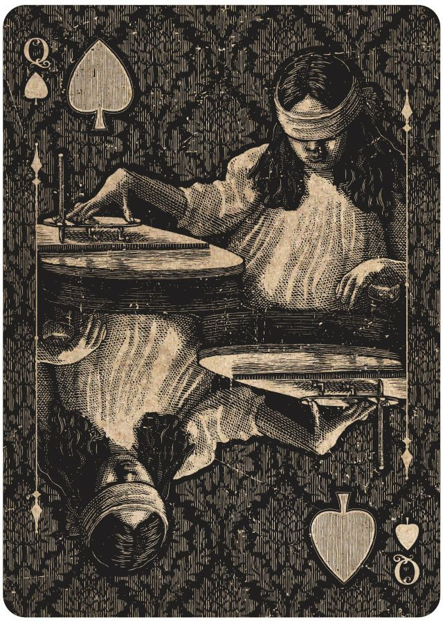 """ORACLE playing cards.  """"Talking boards, spirit photography, seances, ectoplasm, and levitating tables—the spiritualist movement has a rich history. I want to capture some of that history in a deck of USPCC playing cards.   Queen of Spades"""