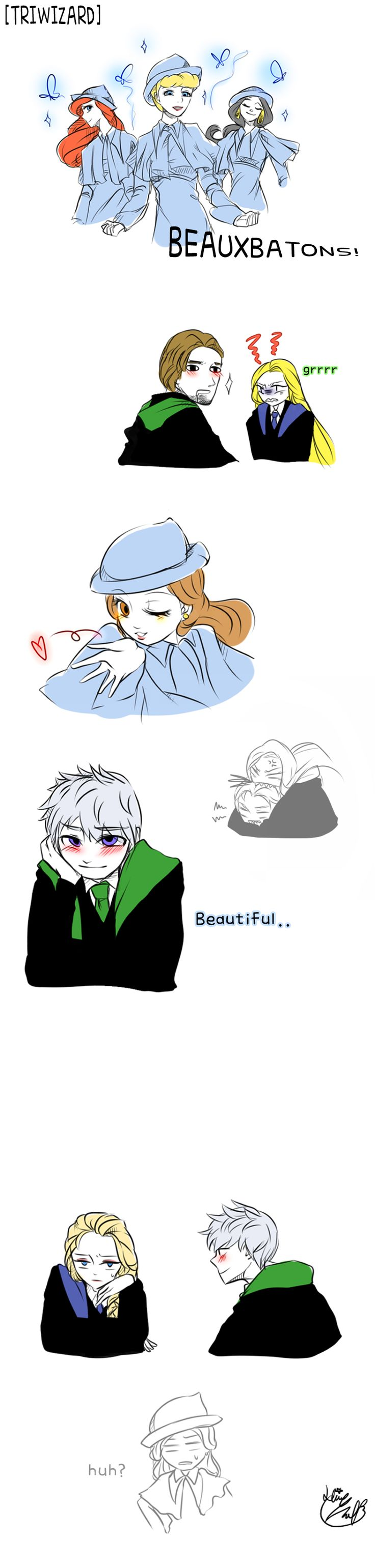 Triwizard-Beauxbatons by Lime-Hael on deviantART   Frozen's Elsa, Rise of the Guardians' Jack Frost, Tangled's Rapunzel and Flynn Rider, Disney's Cinderella, The Little Mermaid's Ariel, Aladdin's Jasmine, and Beauty and the Beast's Belle   J.K. Rowling's Harry Potter