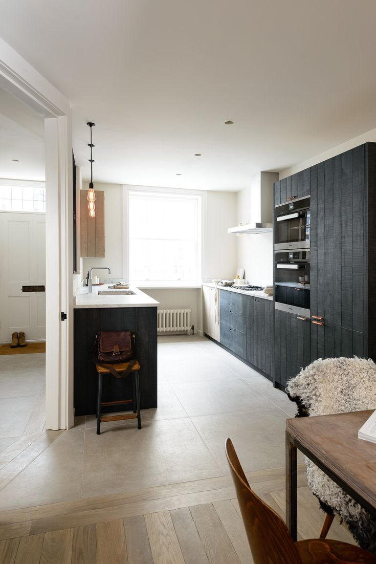 The beautiful Marylebone Kitchen by deVOL is a galley kitchen in a meticulously renovated 4 storey Georgian townhouse in central London