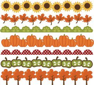 Miss Kate Cuttables Free SVG Fall Sunflower Leaf Pumpkin Apple Borders
