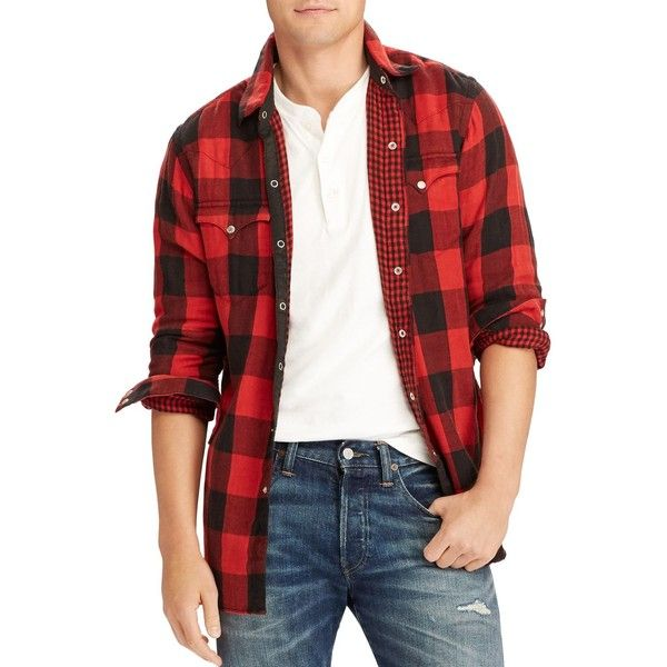 Polo Ralph Lauren Buffalo Plaid Double-Faced Long Sleeve Western Shirt ($74) ❤ liked on Polyvore featuring men's fashion, men's clothing, men's shirts, men's casual shirts, american eagle mens shirts, mens casual long sleeve shirts, western style mens shirts, mens long sleeve western shirts and mens flannel shirts