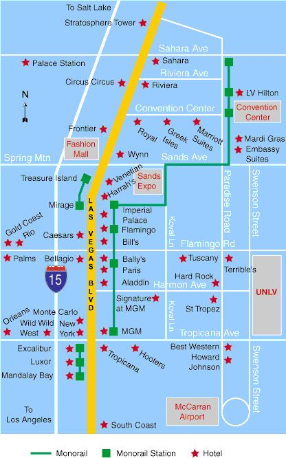Motel las map strip vegas