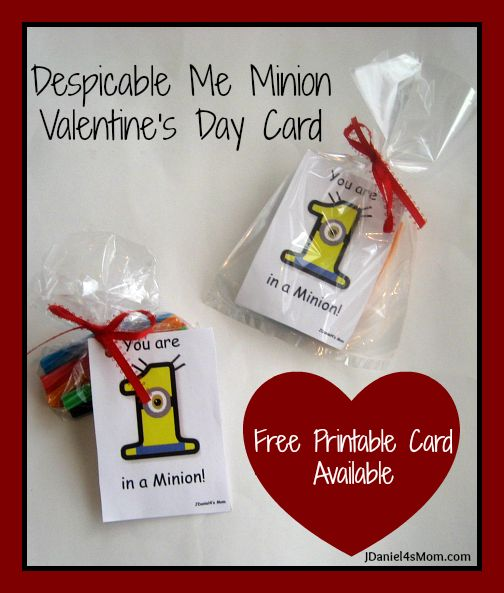 Despicable Me Minion Valentine's Day Cards from JDaniel4's Mom