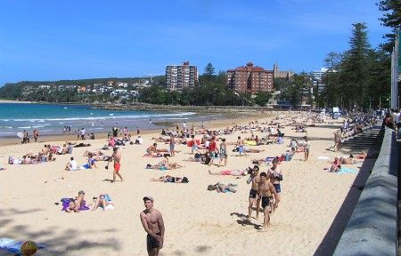 Manly Beach sprinkled with people