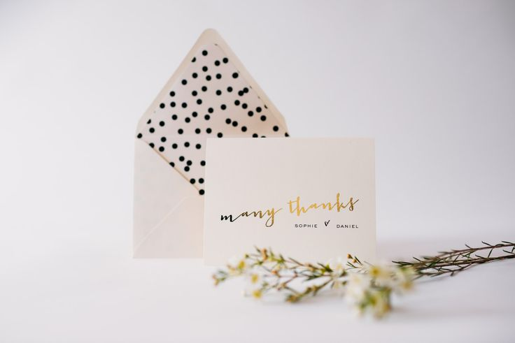 gold foil personalized thank you cards lined envelopes