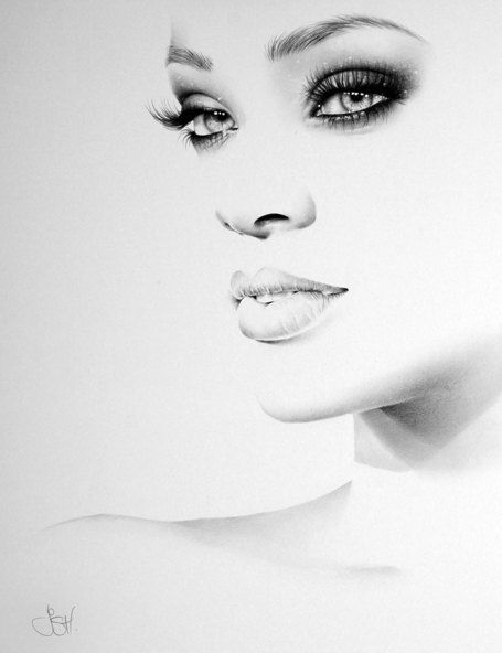 Rihanna Fine Art Signed Print Pencil Drawing por IleanaHunter                                                                                                                                                                                 Más