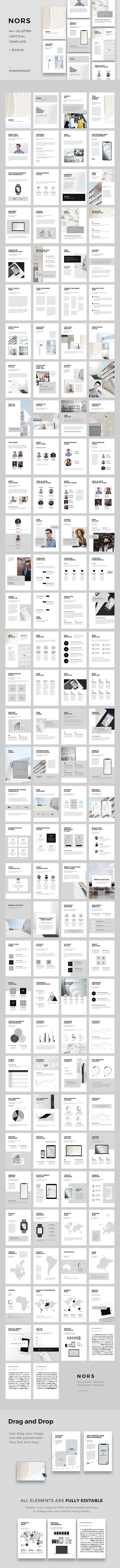 NORS Vertical Powerpoint + 20 Photos by PixaSquare on @creativemarket Professional creative design Presentation Template Slides. Creative, modern, clean, minimalist, trendy, marketing Promotion Promo Posts for Business, Proposal, Marketing, Plan, Agency, Startups, Portfolio Design Layout. Vertical A4 + US Letter Printable Ready to Print Version