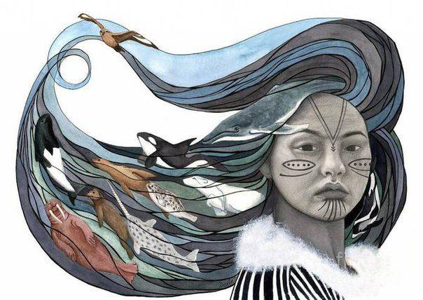 """Катти Фредриксен """"Мне страшно, мне странно, мне хочется пить: на моей коже - морская соль и удары барабанной палочки. Каяки стоят на низкой воде, у берега, рабочие каяки, сел - и в море. Но где охотники и рыбаки?"""" На рисунке художника Antony Galbraith изображена эскимосская богиня Седна."""