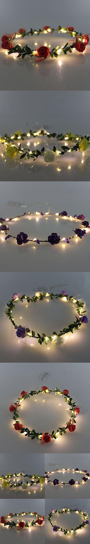 JOJOO Set of 4 LED Flower Garland Headband - Crown Festival Floral Flower Wedding Hair Wreath Headdress with LED Decor LT036*4