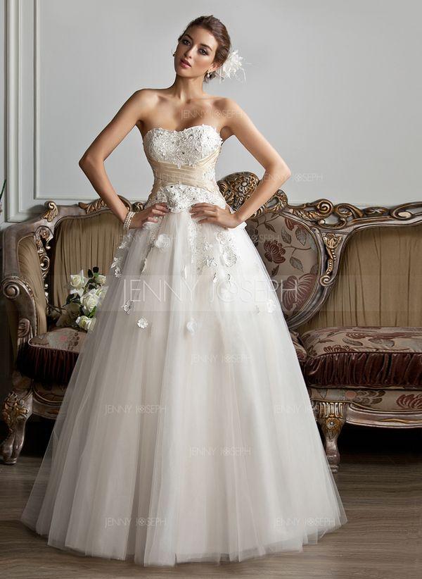 Palloncino A cuore Tè-lunghezza Tyll Charmeuse Abito per matrimonio con Increspature Fusciacche Perline Di Appliques Fiori (002013803)
