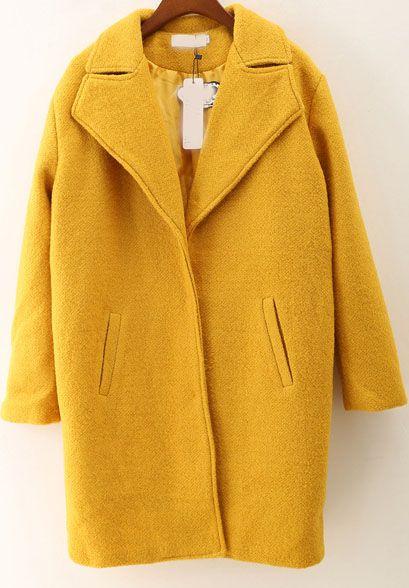Yellow Lapel Long Sleeve Loose Woolen Coat - abaday.com