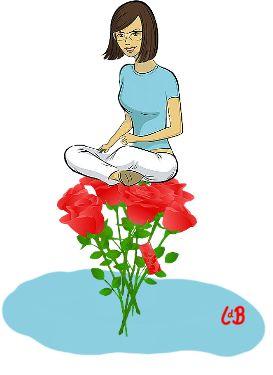 Op rozen zitten
