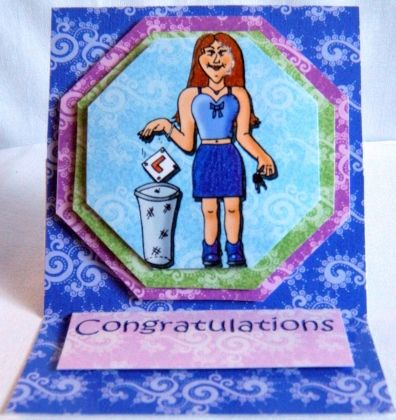 """This 3D card is made up of 3 raised layers.  Blank for you to add your own personal message.  3.75"""" x 3.75""""  9.5cm x 9.5cm"""