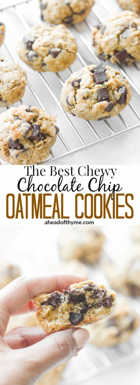 The Best Chewy Chocolate Chip Oatmeal Cookies: Grab a tall glass of milk and start dipping the best homemade, soft-centered, chewy chocolate chip oatmeal cookies you will ever try! | aheadofthyme.com via @aheadofthyme