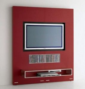 Nice and neat. Flat screen recessed in the wall. Perfect.