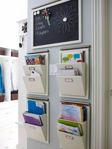 keep papers off of the counter in the kitchen. This site has lots of ideas