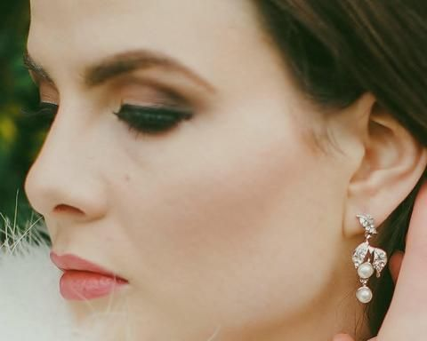 Wedding Earrings - Vintage Style Leaf Pearl Drop Earrings, Emma