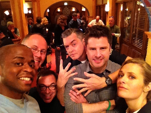 "Dulé Hill: ""We're back Psycho's!!!! Day 1 Shot 1 @Omundson @Maggie Lawson, Roday, Camera Op Marco Ciccone & AD Richard Coleman"""