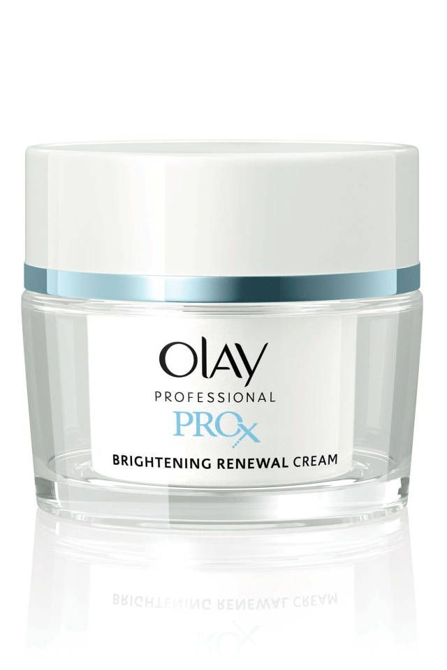 """""""I love that this has proven ingredients to both brighten and moisturize simultaneously,"""" says Doris Day, MD, clinical associate professor of dermatology at NYU and author of Forget the Facelift. Olay Professional Pro-X Even Skin Tone Brightening Renewal Cream, $40 (for the three step kit), olay.com."""