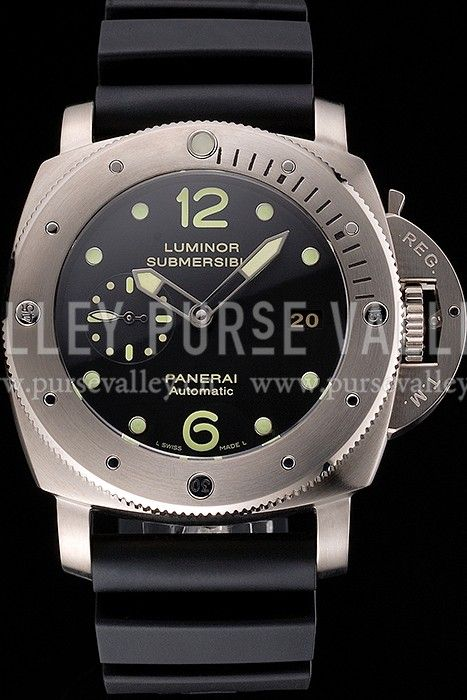 Swiss Panerai Luminor Submersible Black Dial Stainless Steel Case Black Rubber Strap Panerai Replica