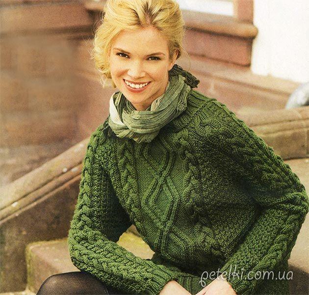 Зеленый пуловер с арановым узором. Описание, схемы вязания