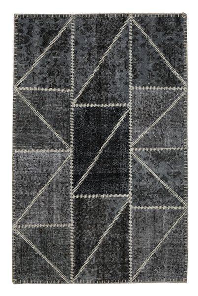 The Orient Bazaar - Overdyed Carpet - Gray Color Vintage Patchwork Carpet - Recolored Vin