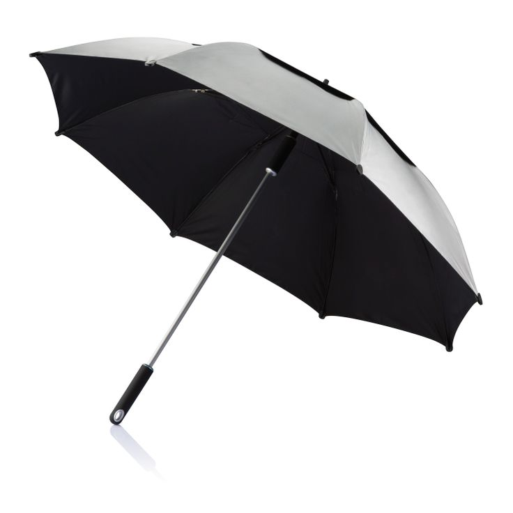 """Hurricane Storm Umbrella The Hurricane umbrella features a 27"""" double layered panel that is ideal for rough conditions and is dry again in no time due to the waterproof fabric. The unique opening mechanism provides ease of use when opening and closing. Registered design® For more great ideas contact john@fortunemarketing.ie"""