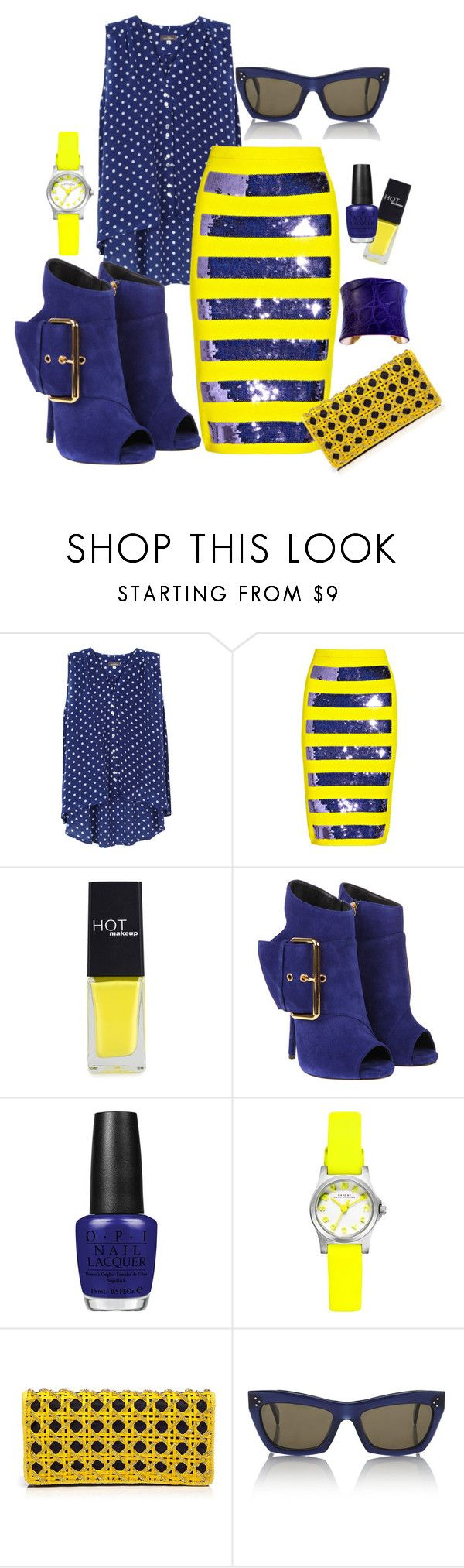 """""""Mixing Stripes and Polka Dots"""" by ruzindedeugd ❤ liked on Polyvore featuring Mercy Delta, Marc Jacobs, HOTmakeup, Giuseppe Zanotti, OPI, Marc by Marc Jacobs, Balmain, CÉLINE and UNEARTHED"""