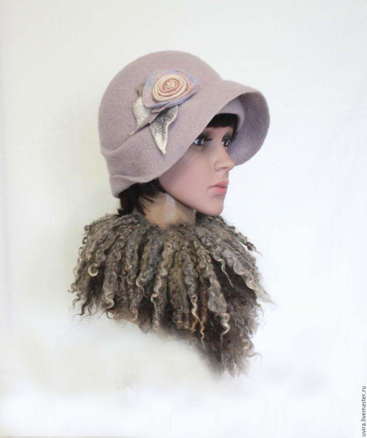 """Купить """"Перванш"""" шляпка - авторский войлок - серебряный, перванш, сиренево-голубой, жемчужный оттенок серого"""