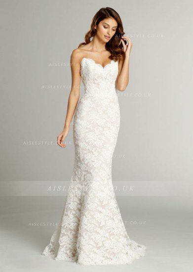 Cute Strapless Sweetheart Lace Pattens Trumpet Wedding Dress