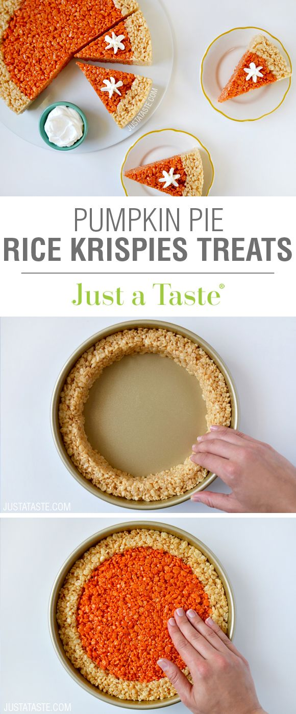 Pumpkin Pie Rice Krispies Treats recipe via justataste.com   A quick and easy holiday dessert recipe for Thanksgiving!