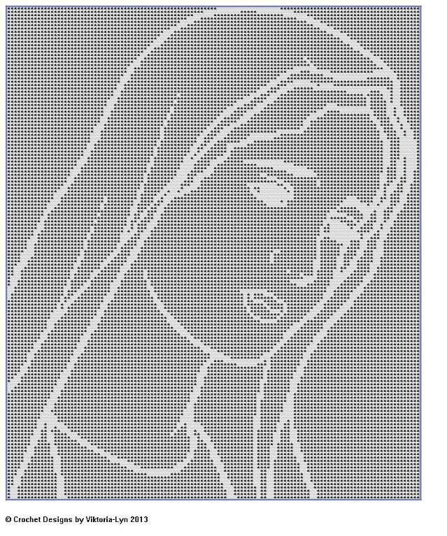 (4) Name: 'Crocheting : Filet Crochet CHART-Mary