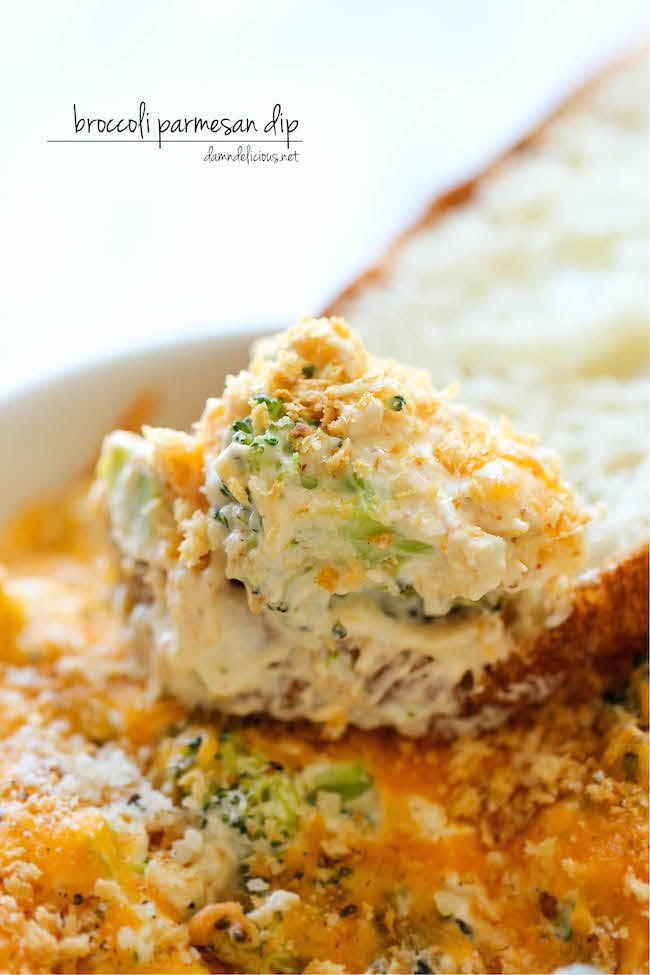 Baked Broccoli Parmesan Dip -- A wonderfully hot and cheesy broccoli dip. Thanks to Damn Delicious.