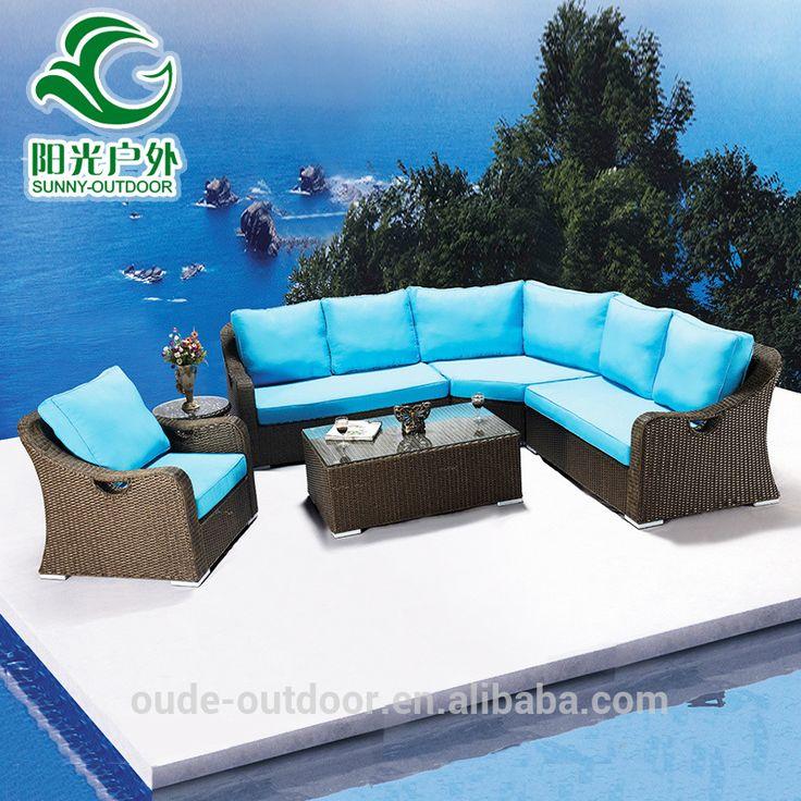 Alibaba al por mayor más reciente conjunto de sofás de mimbre al aire libre muebles de jardín, muebles de mimbre al aire libre