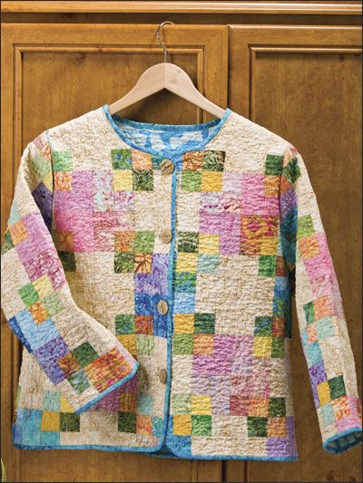 Square Dance Quilted Jacket--I see a lot of quilt block pillow shams at the thrift store.  Maybe they could be used for this idea.