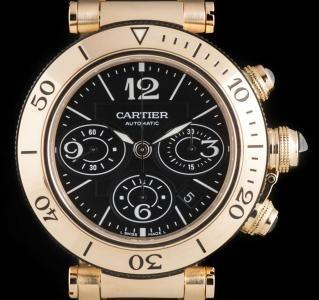 Cartier Pasha Seatimer Chronograph Gents 18k Rose Gold Black Dial B&P W301980M