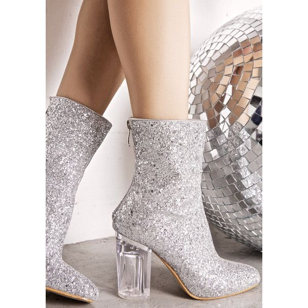 Silver Glitter Perspex Boot ($45) ❤ liked on Polyvore featuring shoes, boots, ankle booties, block heel booties, sparkly ankle boots, sparkly booties, zipper boots and clear booties