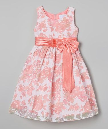 Look what I found on #zulily! Pink Floral Bow Dress - Toddler & Girls #zulilyfinds