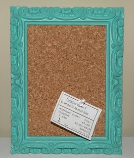 Framed Corkboard.  Can do one with just cork and one with cork and ribbons and buttons to have a different type of organization