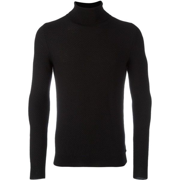 Zanone turtle neck jumper (16.545 RUB) ❤ liked on Polyvore featuring men's fashion, men's clothing, men's sweaters, black, mens turtleneck sweater and men's polo neck sweaters