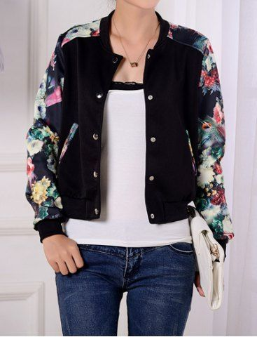 Stylish Long Sleeves Printed Single Breasted Jacket For WomenJackets | RoseGal.com