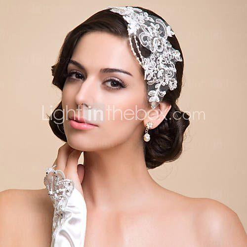 [EUR € 4.83]  Wunderschönes Damen Stirnband mit Spitze & Perlen/Strass