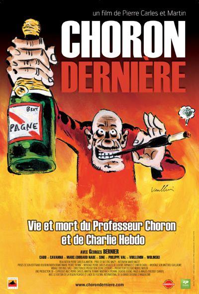 """""""Choron, dernière : vie et mort du Professeur Choron et de Charlie Hebdo"""" disponible à l'espace DVD de la bibliothèque sous la cote 070 CAR."""