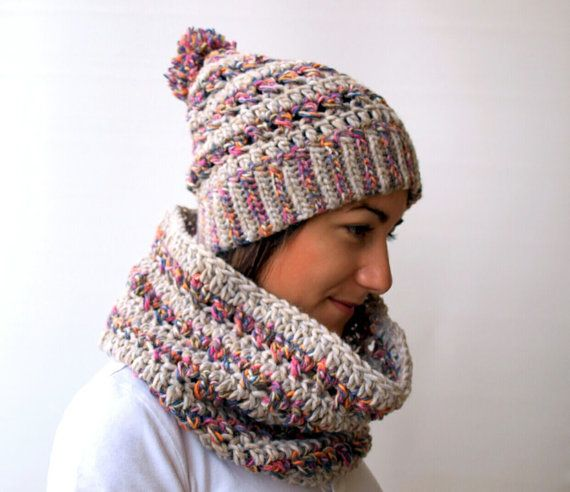 Crochet big stitch hat and cowl sethandmade by elenis4you on Etsy, $46.70