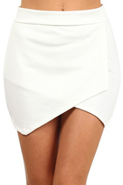 Off white asymmetrical mini skirt.